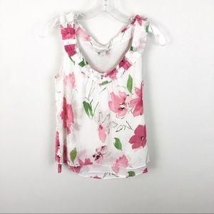 Ann Taylor Loft Tank Top Floral Pink Flowy S